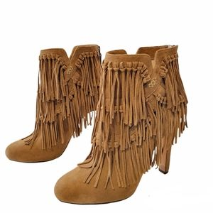 Jean-Michel Cazabat Pepe Suede Leather Fringe Ankle Booties Size 37.5